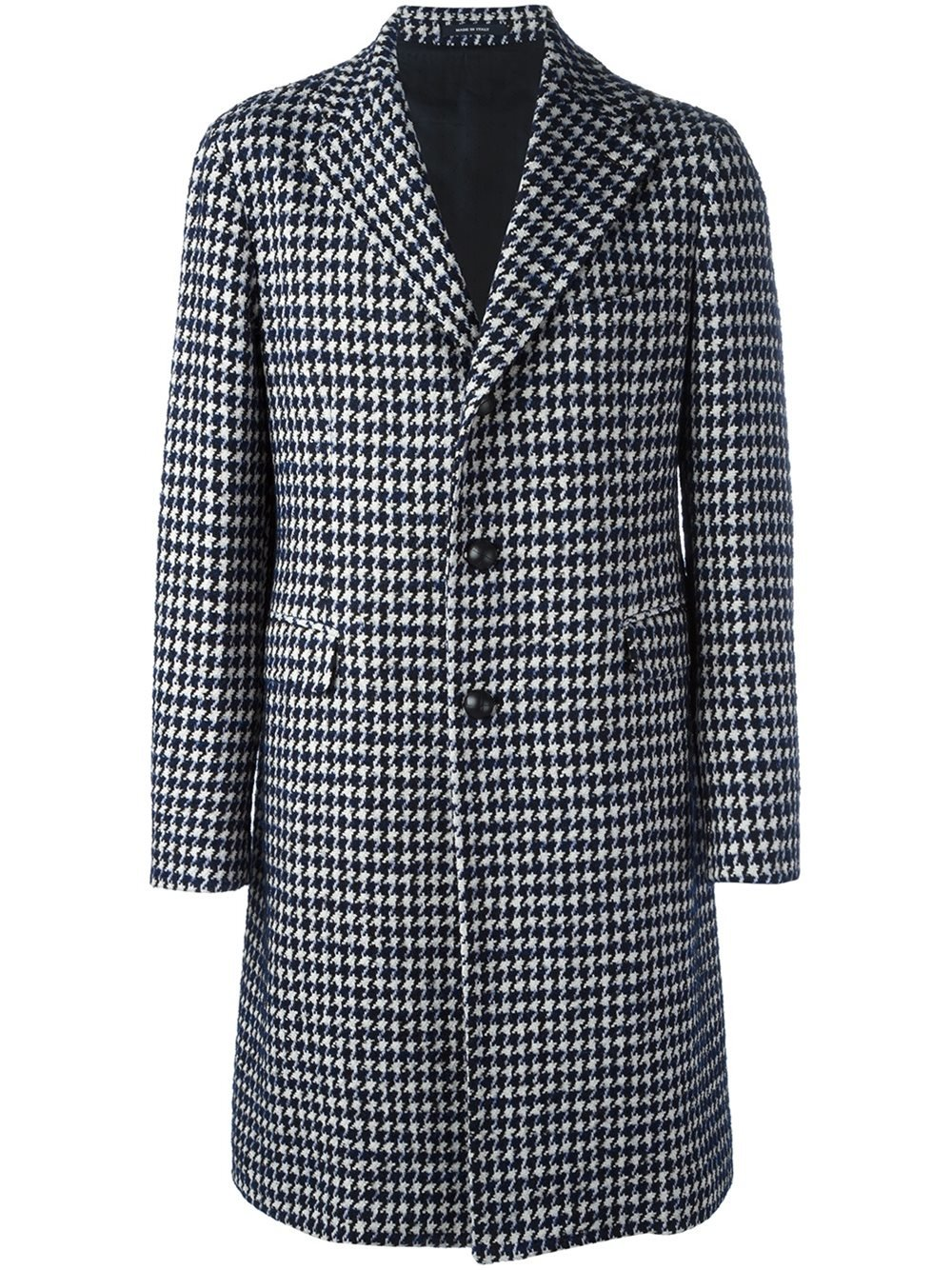 Lyst Tagliatore Houndstooth Patterned Coat In Black For Men