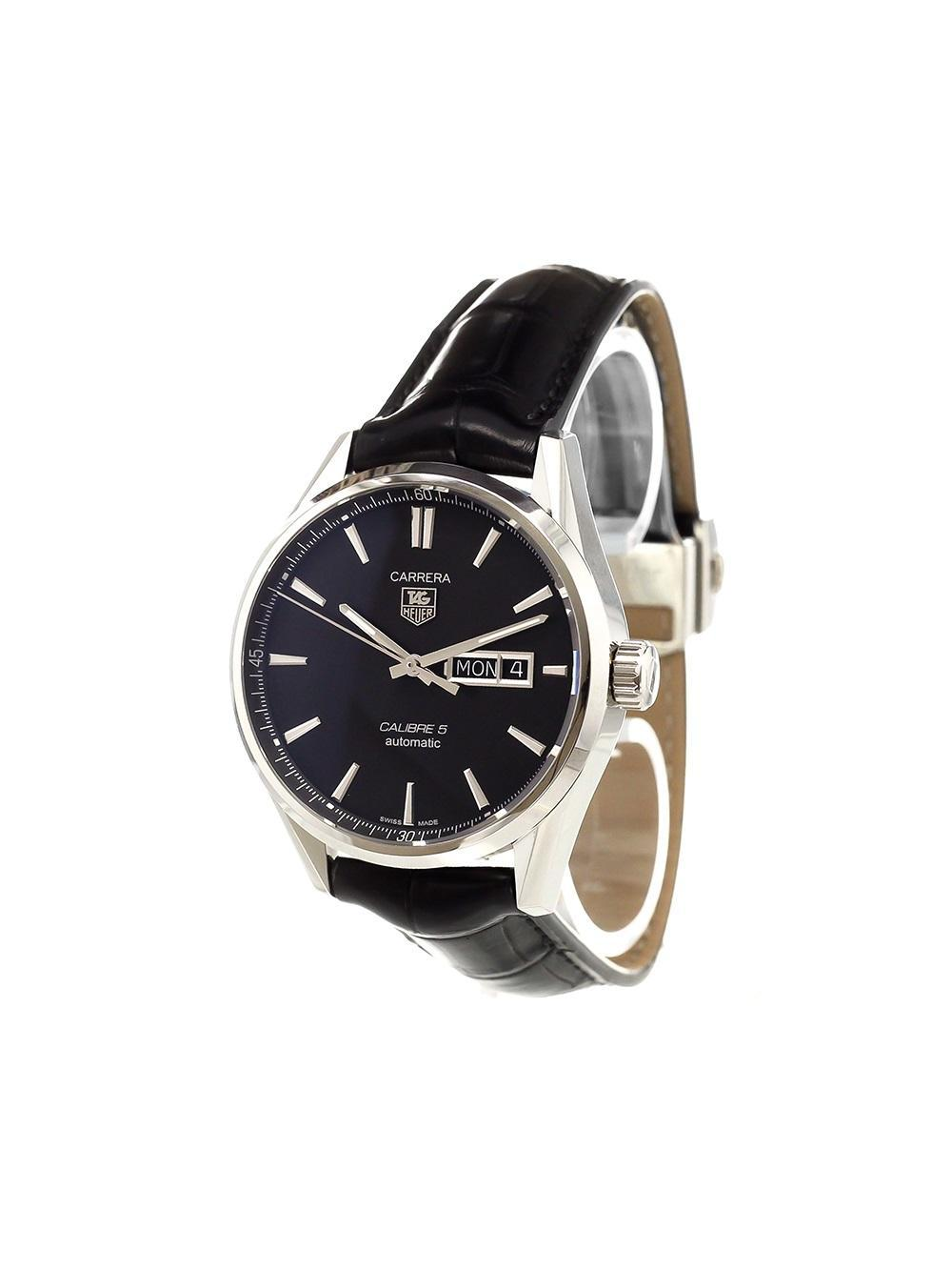 lyst tag heuer 39 carrera calibre 5 39 analog watch in black. Black Bedroom Furniture Sets. Home Design Ideas