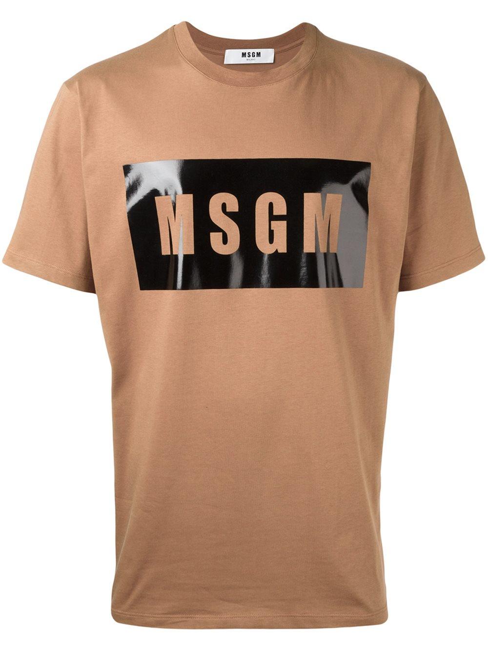 Msgm logo print t shirt in brown for men lyst for Print logo on shirt