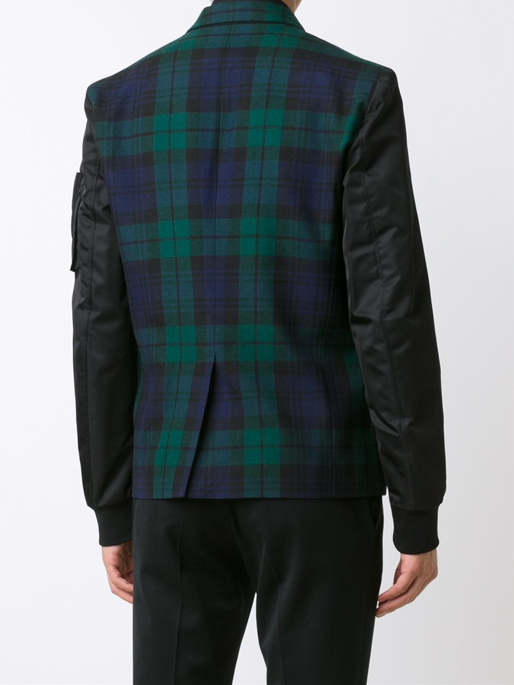 Lyst Dsquared 178 Mixed Material Tartan Bomber In Black For Men