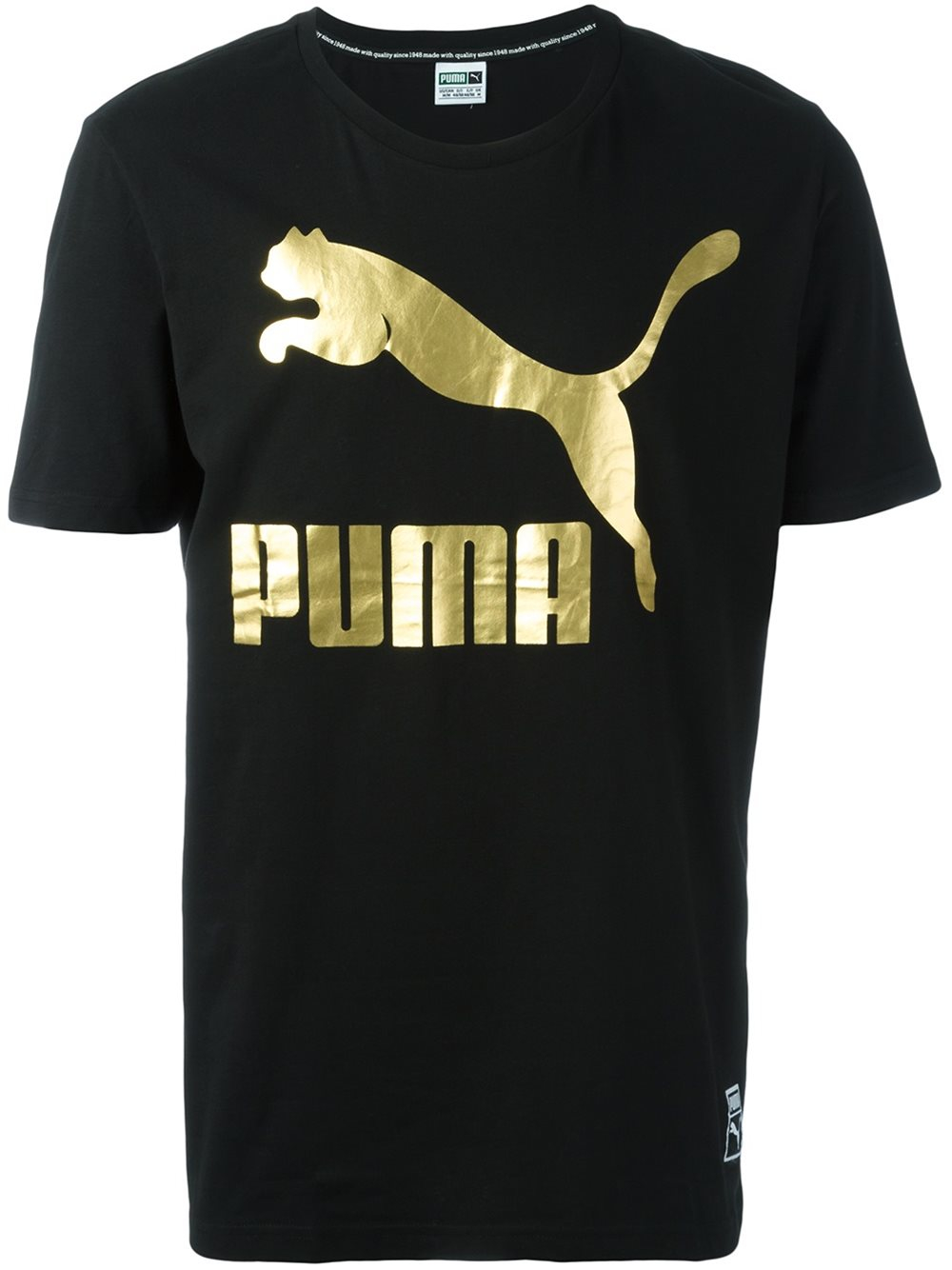 Puma logo print t shirt in black for men lyst for Shirts with logo print