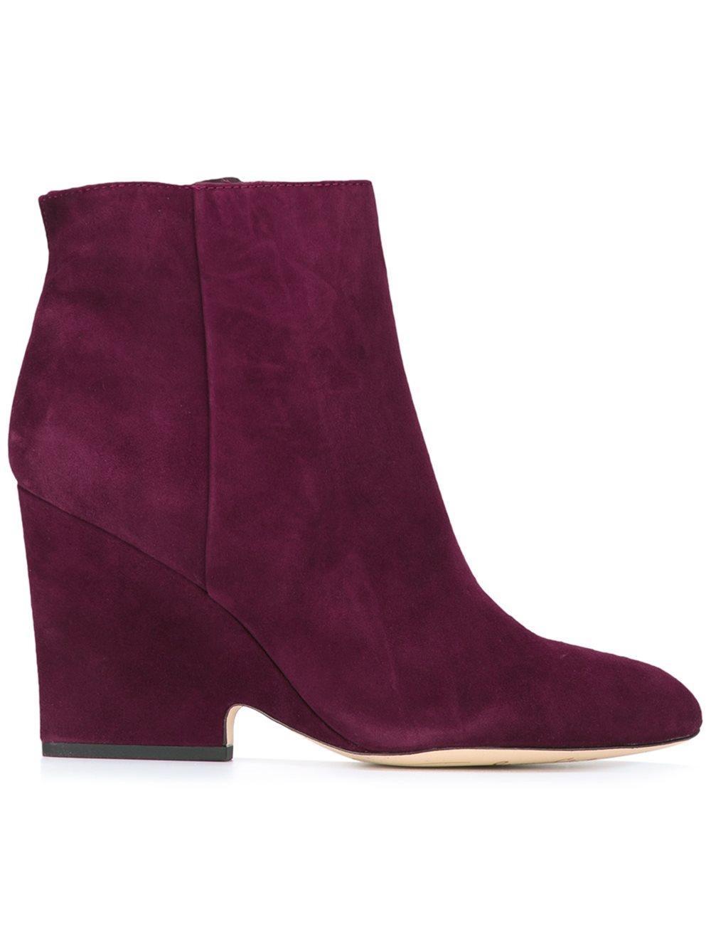 sam edelman wilson suede wedge boots in purple lyst