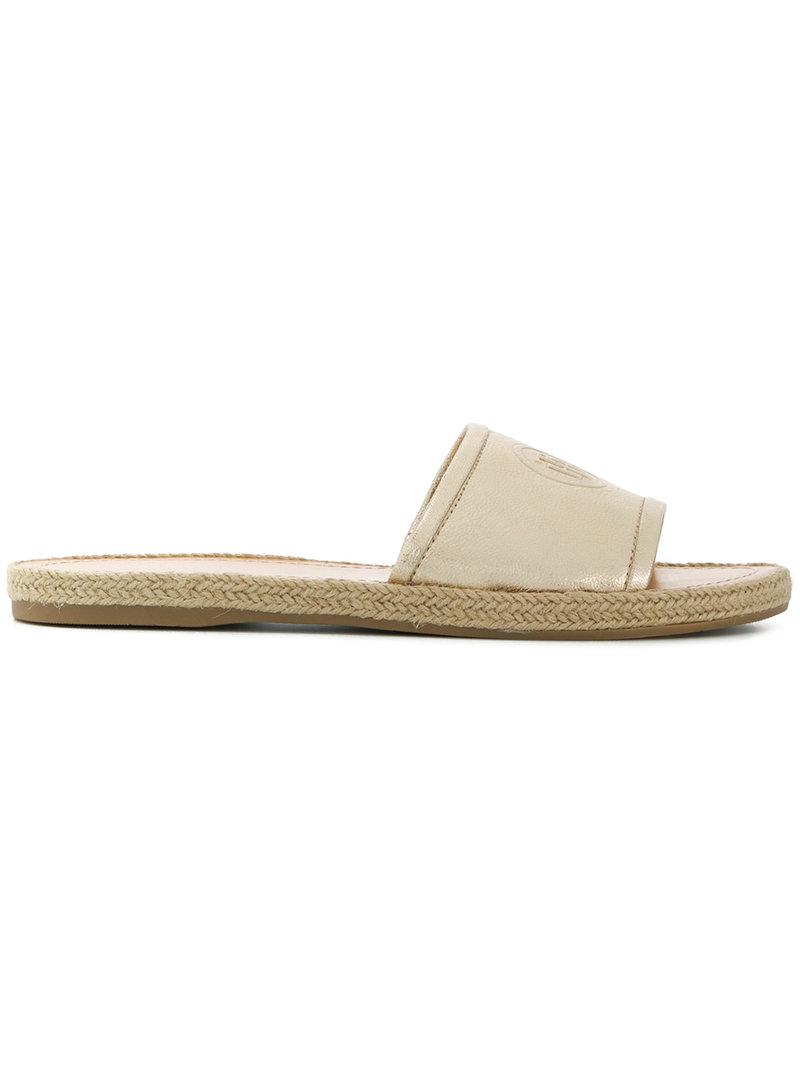 d253a5c5d Lyst - Tommy Hilfiger Embossed Strap Sandals in Metallic