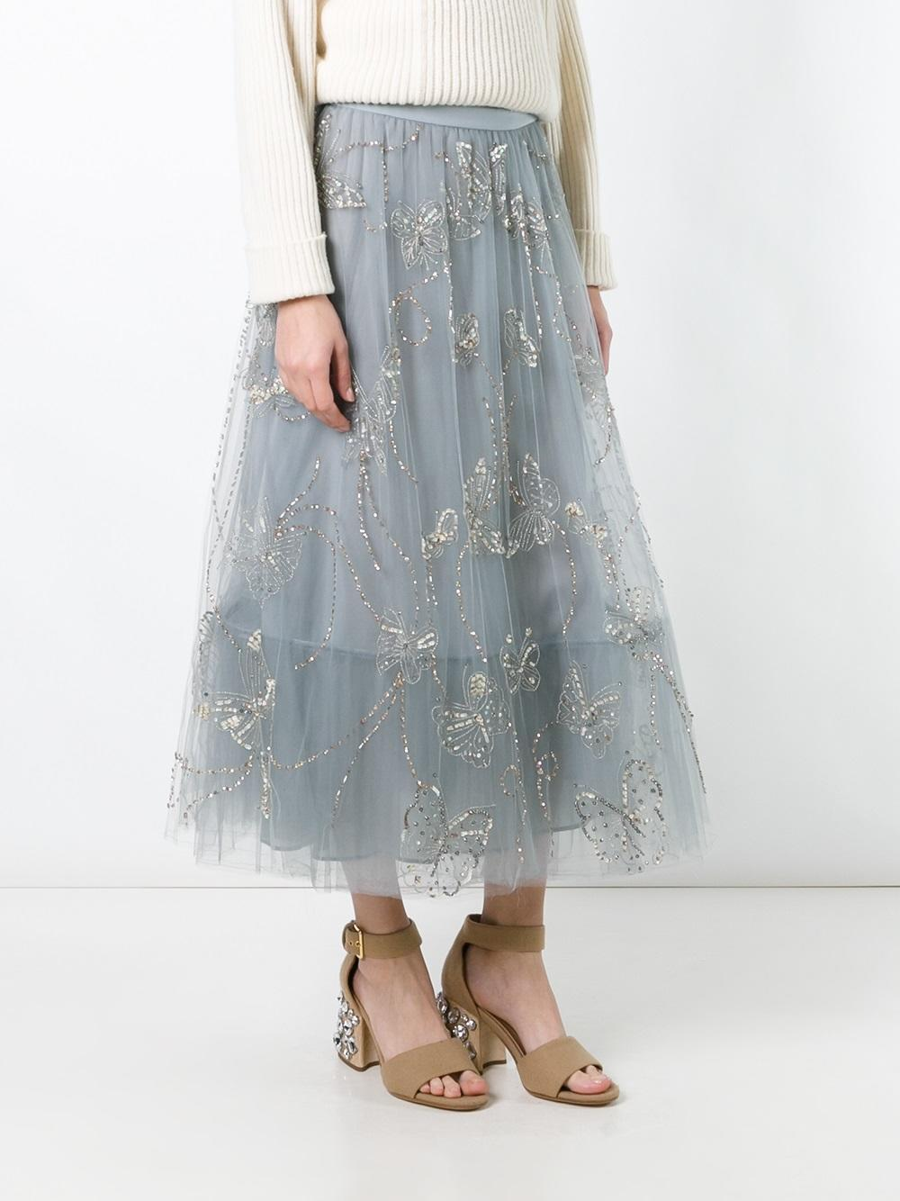 Lyst valentino butterfly embroidered tulle skirt in gray