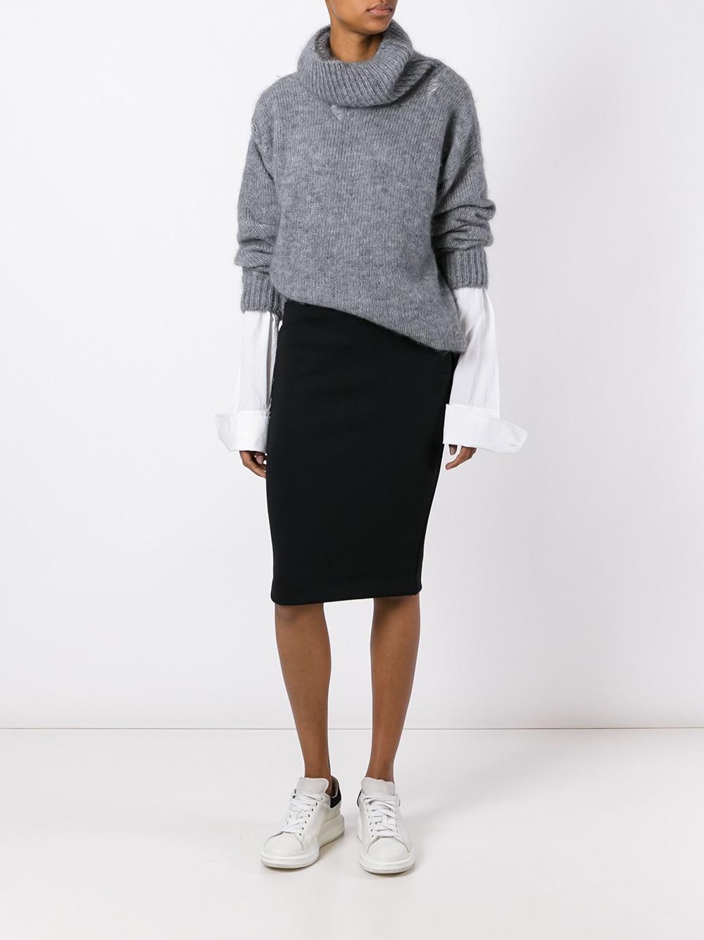 mcq classic pencil skirt in black lyst