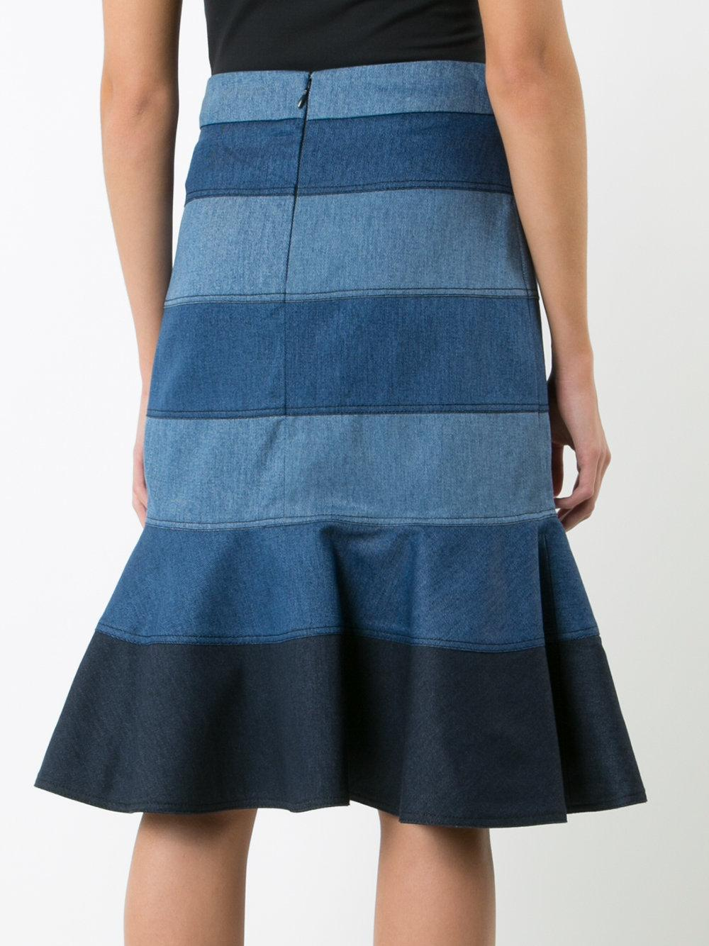 carolina herrera striped denim trumpet skirt in blue lyst