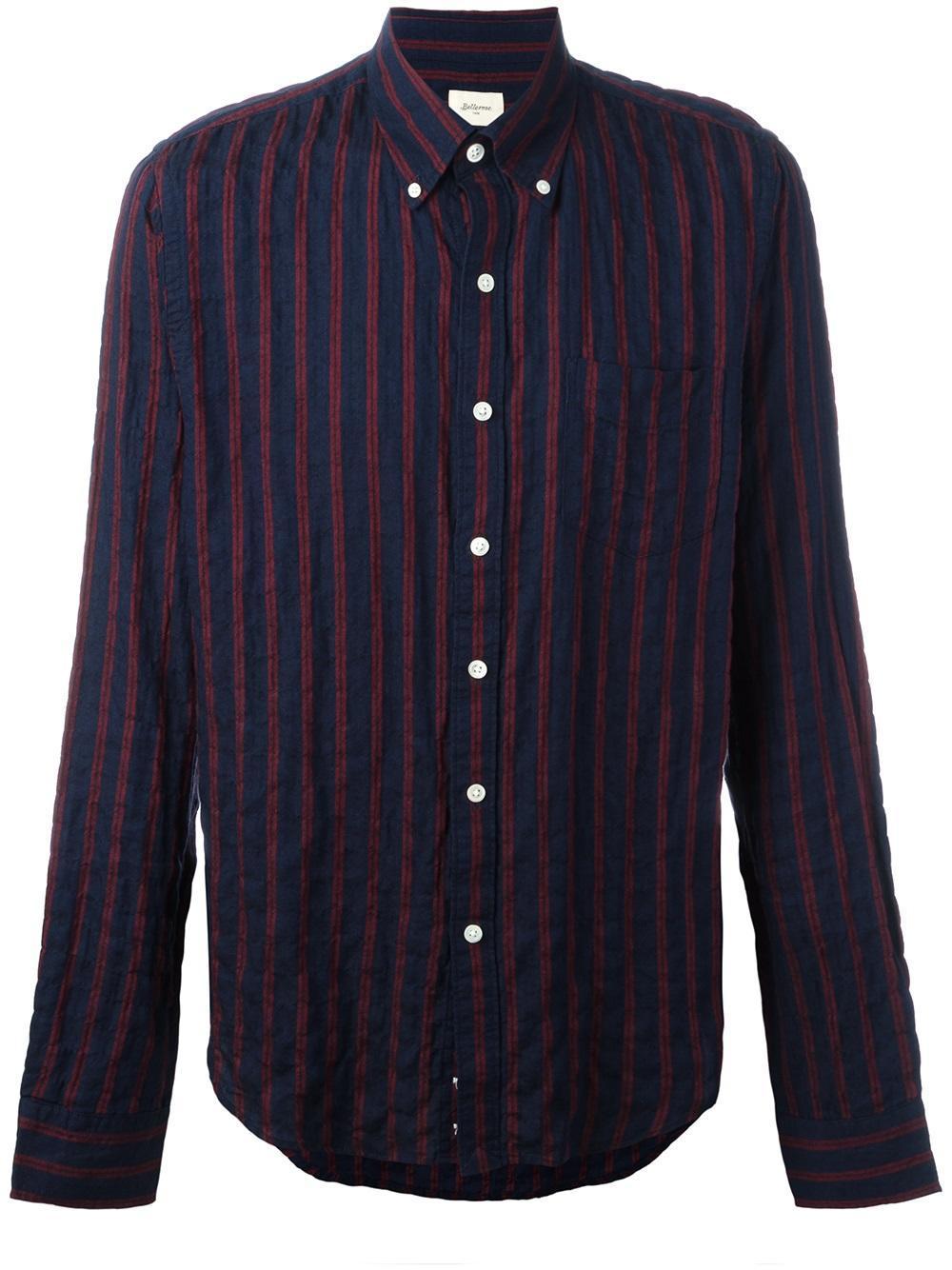Bellerose striped button down shirt in blue for men lyst for Red and white striped button down shirt