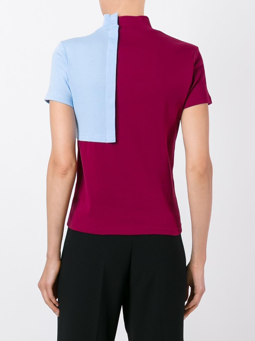 Jacquemus Colour Block Roll Neck T Shirt In Blue Lyst