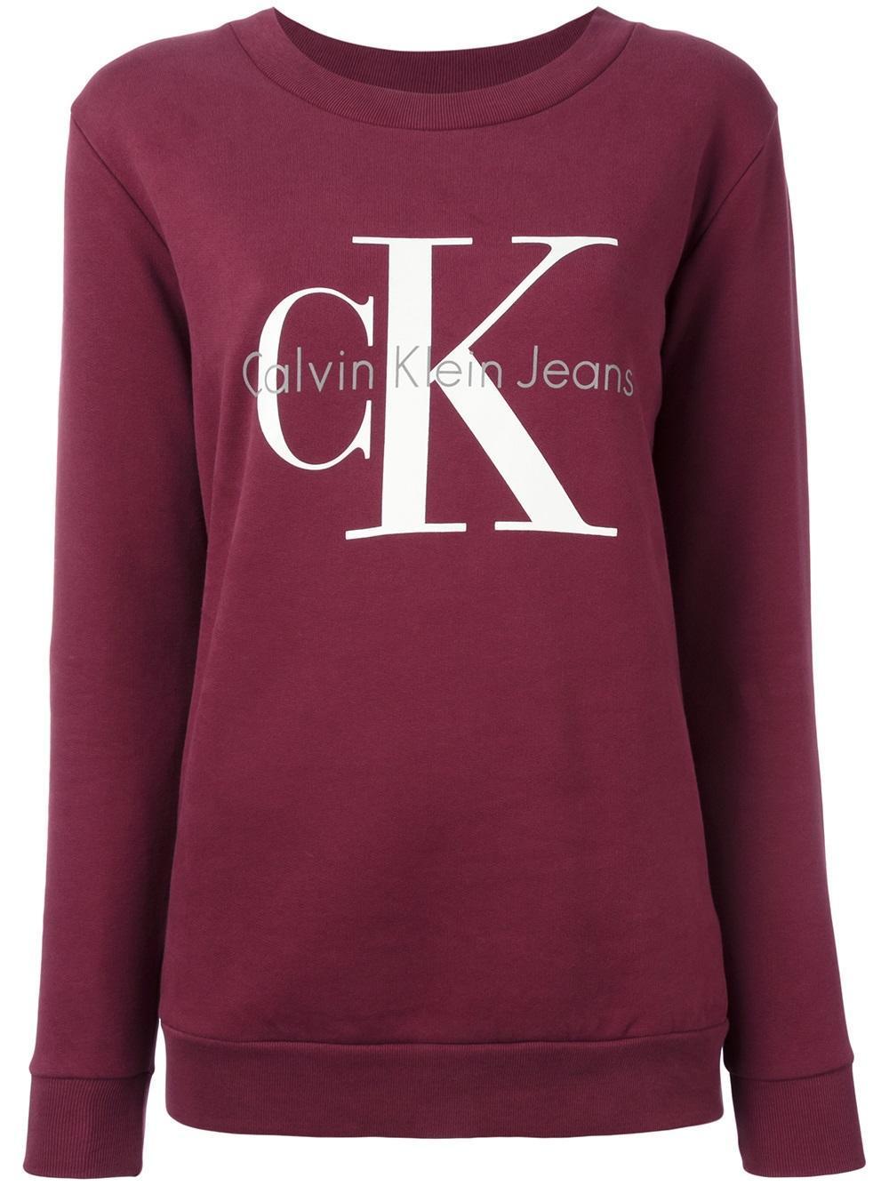 calvin klein jeans logo print sweatshirt in red lyst. Black Bedroom Furniture Sets. Home Design Ideas