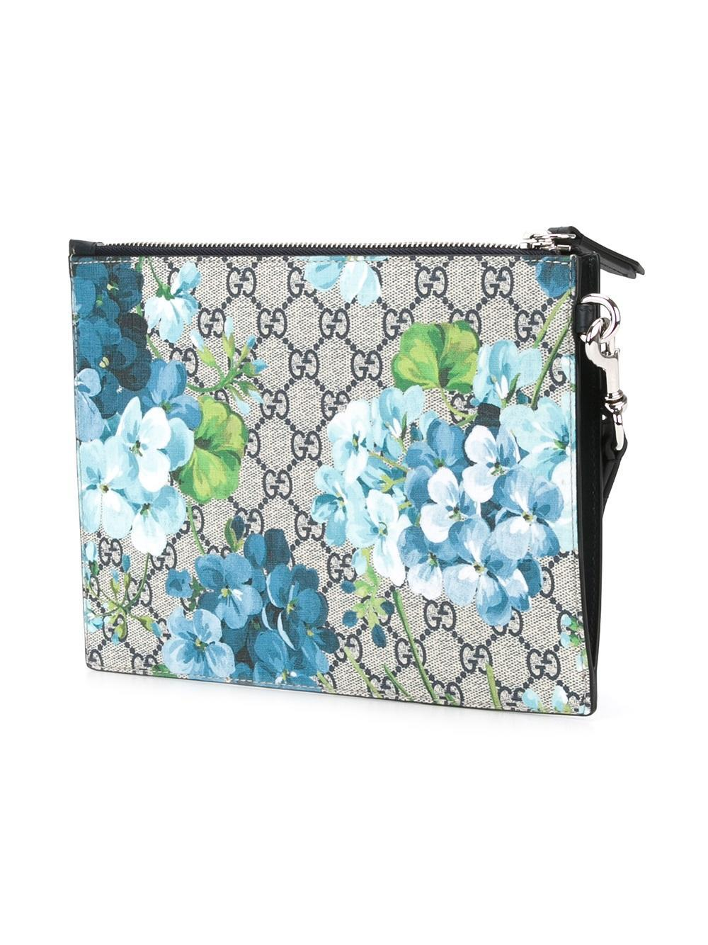 Lyst - Gucci Floral Print Clutch In Blue For Men
