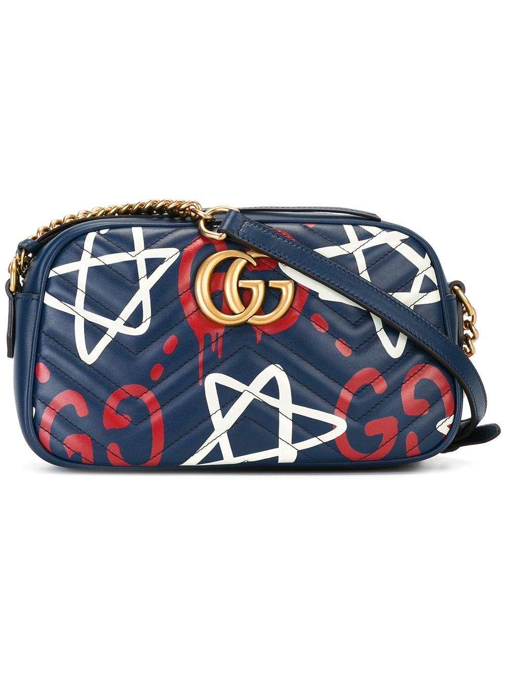 Lyst Gucci Ghost Gg Marmont Shopping Bag In Blue