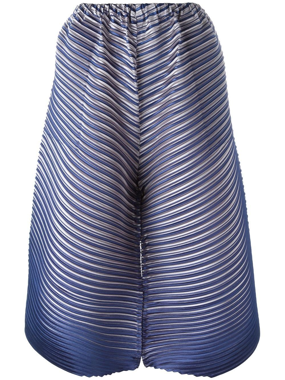 pleats please issey miyake pleated cropped trousers in blue lyst. Black Bedroom Furniture Sets. Home Design Ideas