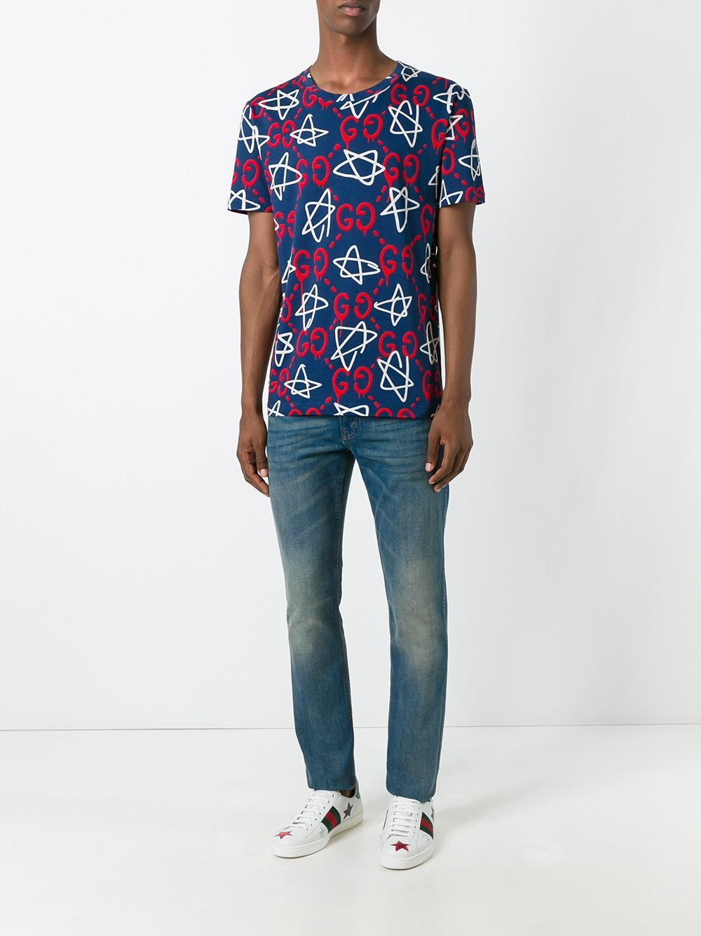 lyst gucci ghost t shirt in red for men. Black Bedroom Furniture Sets. Home Design Ideas