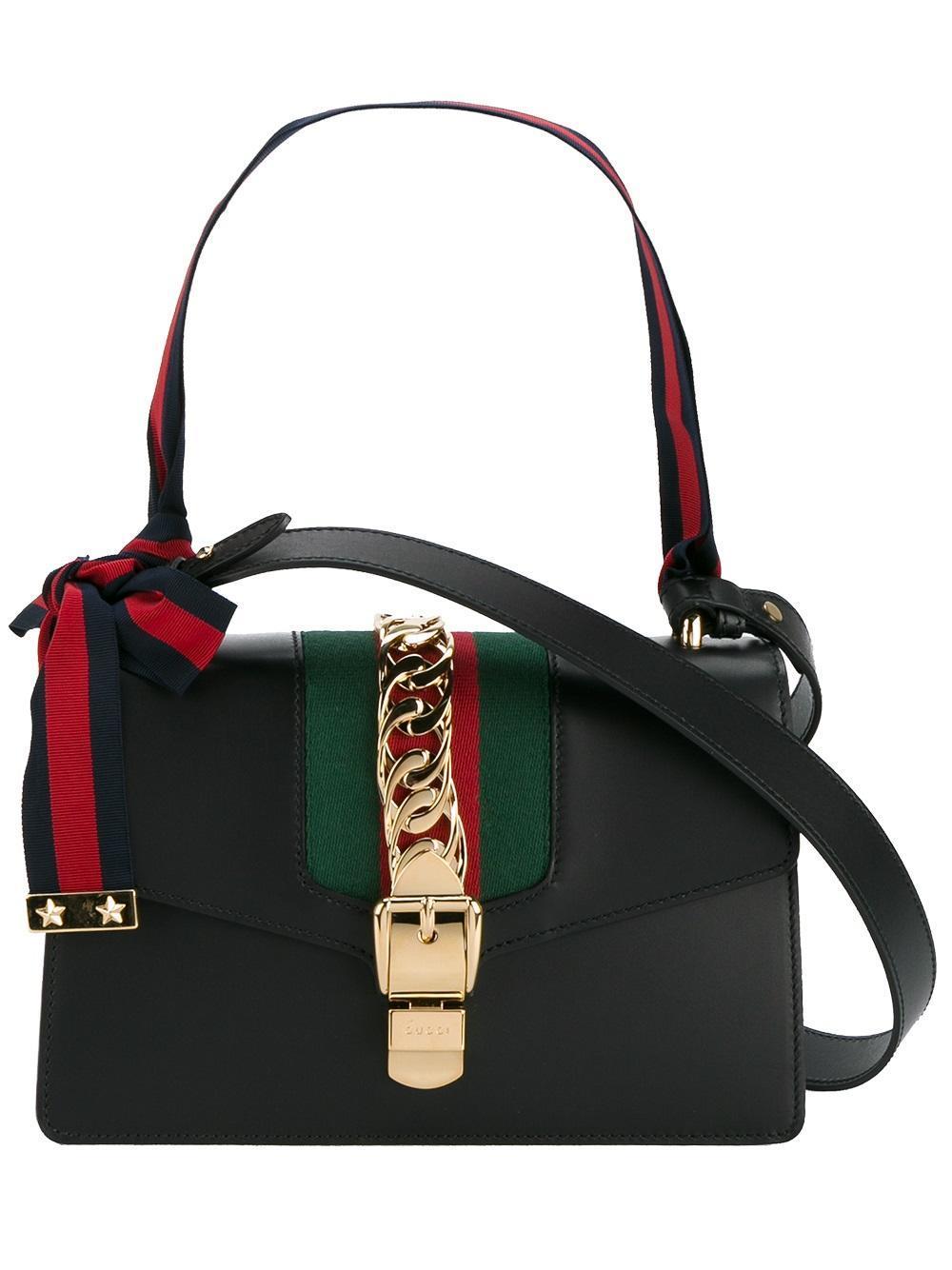 Gucci Silvie Ribbon Shoulder Bag In Black Lyst