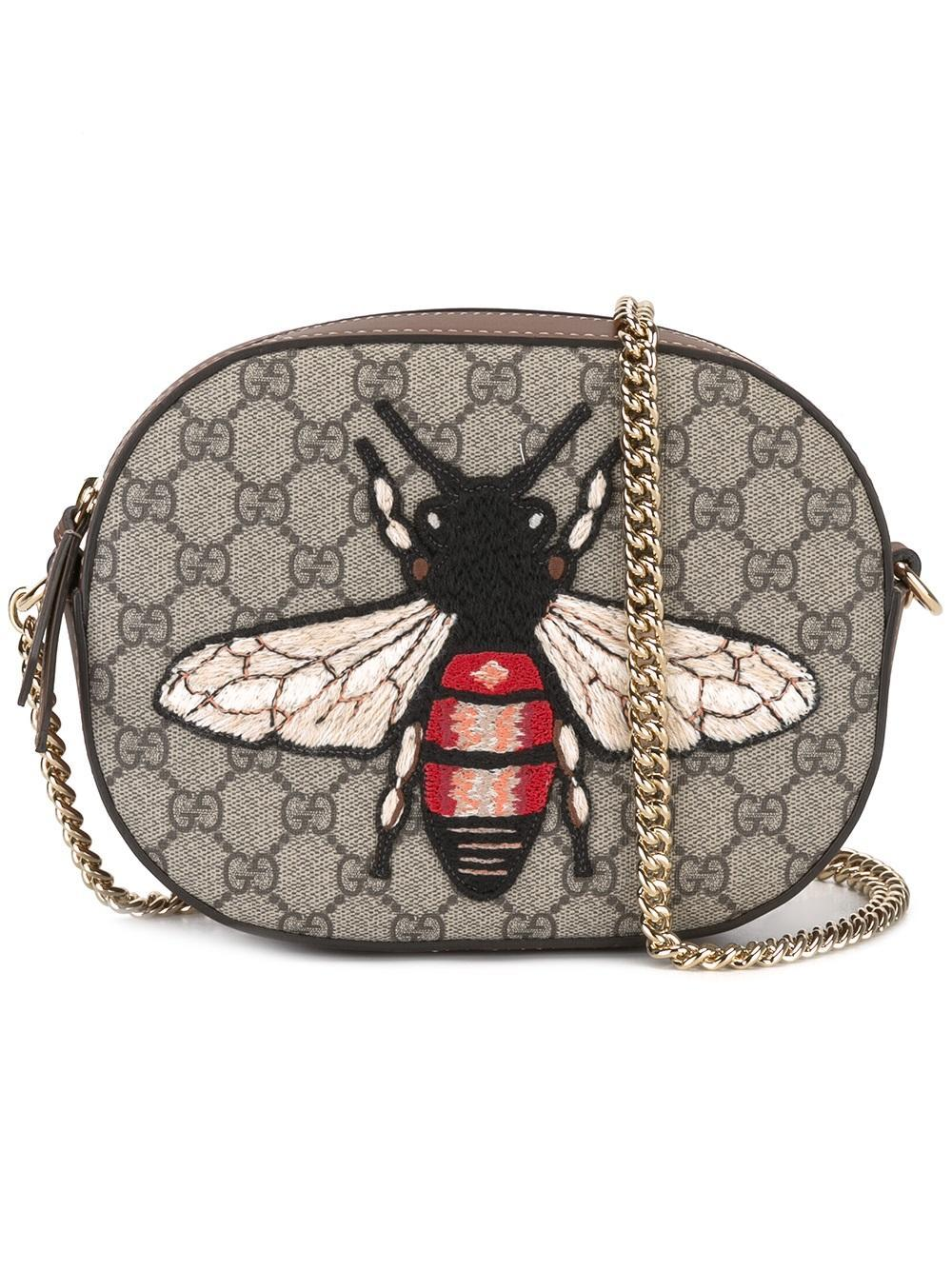 7f6c55ff75b8e0 Gucci Mini Gg Supreme Bee Bag in Brown - Lyst
