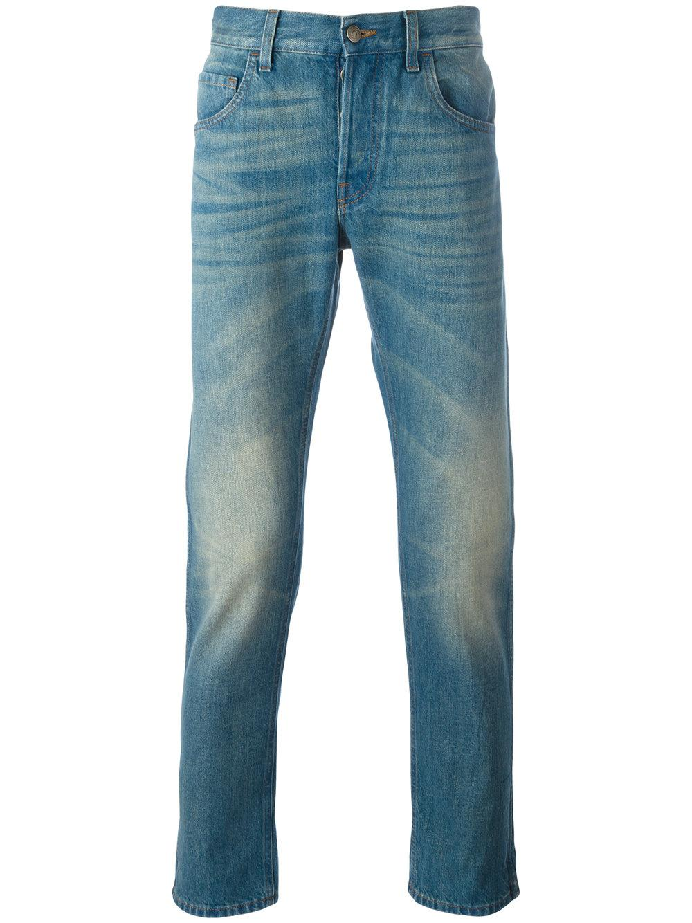 Gucci Medium Washed Jeans in Blue for Men | Lyst