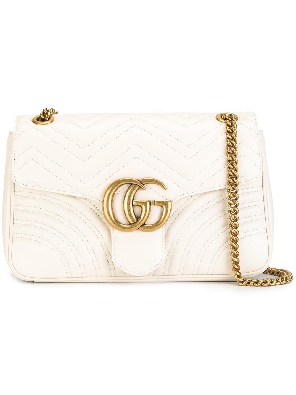 9fbda8d38b71 Gucci Gg Marmont Matelassé Shoulder Bag in White - Lyst