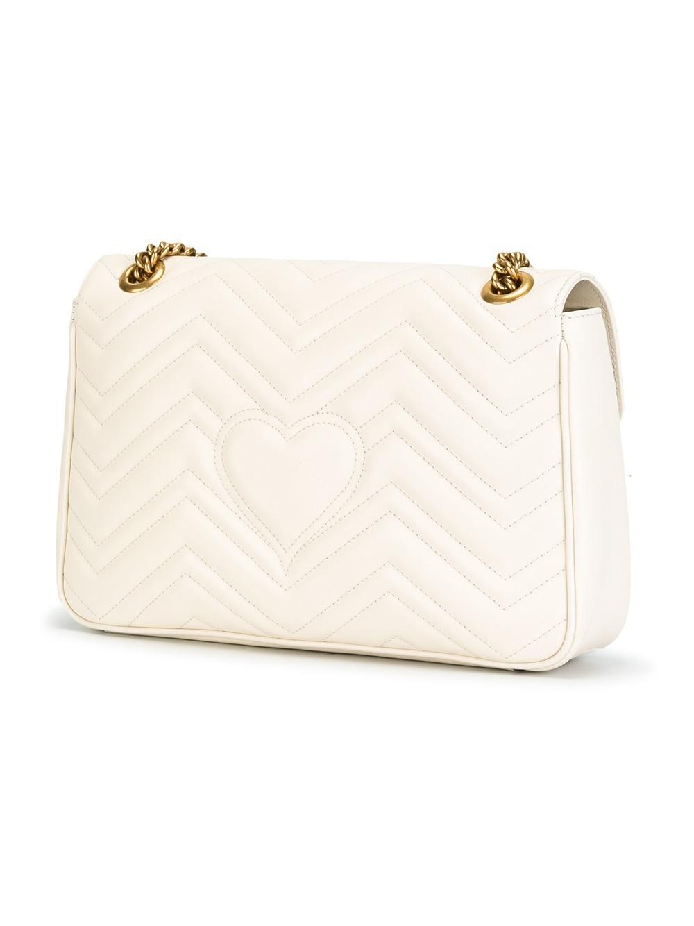 17160425c7f8f Gucci Gg Marmont Small Matelassé Shoulder Bag White