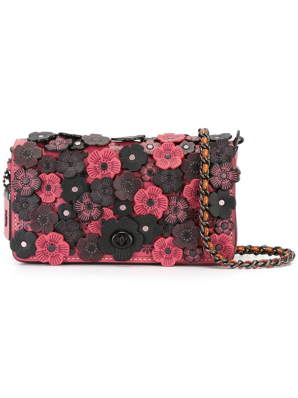 Lyst Coach Flower Embellished Crossbody Bag In Pink