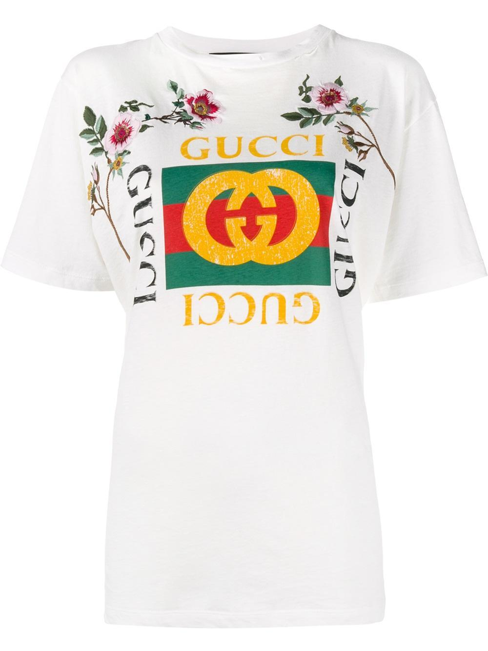 lyst gucci 39 fake 39 embroidered t shirt in white. Black Bedroom Furniture Sets. Home Design Ideas