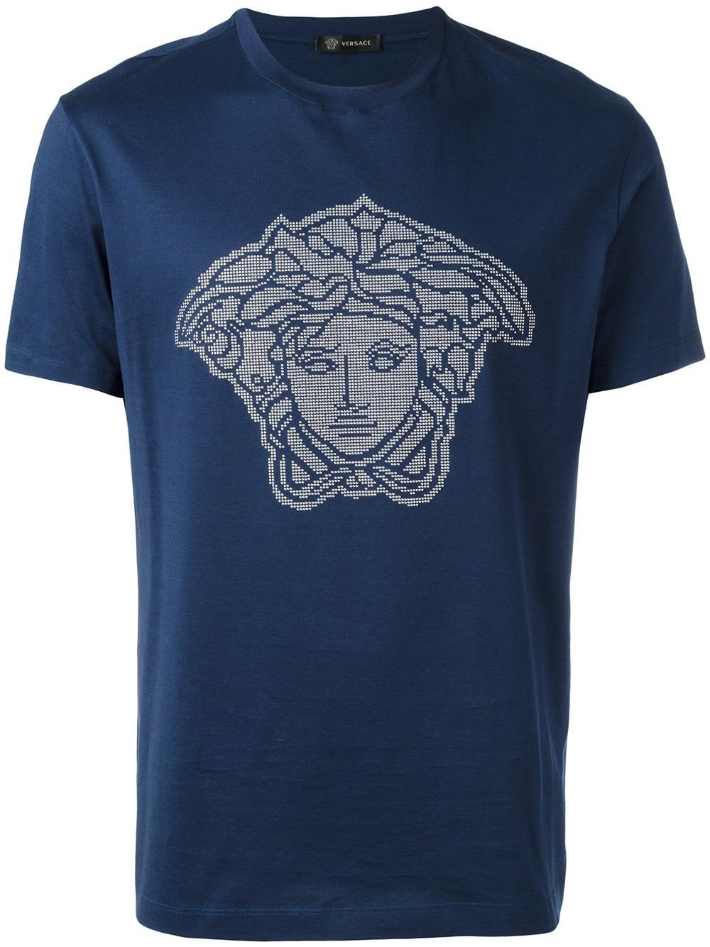Versace Microstudded Medusa Head T-shirt in Blue for Men ...