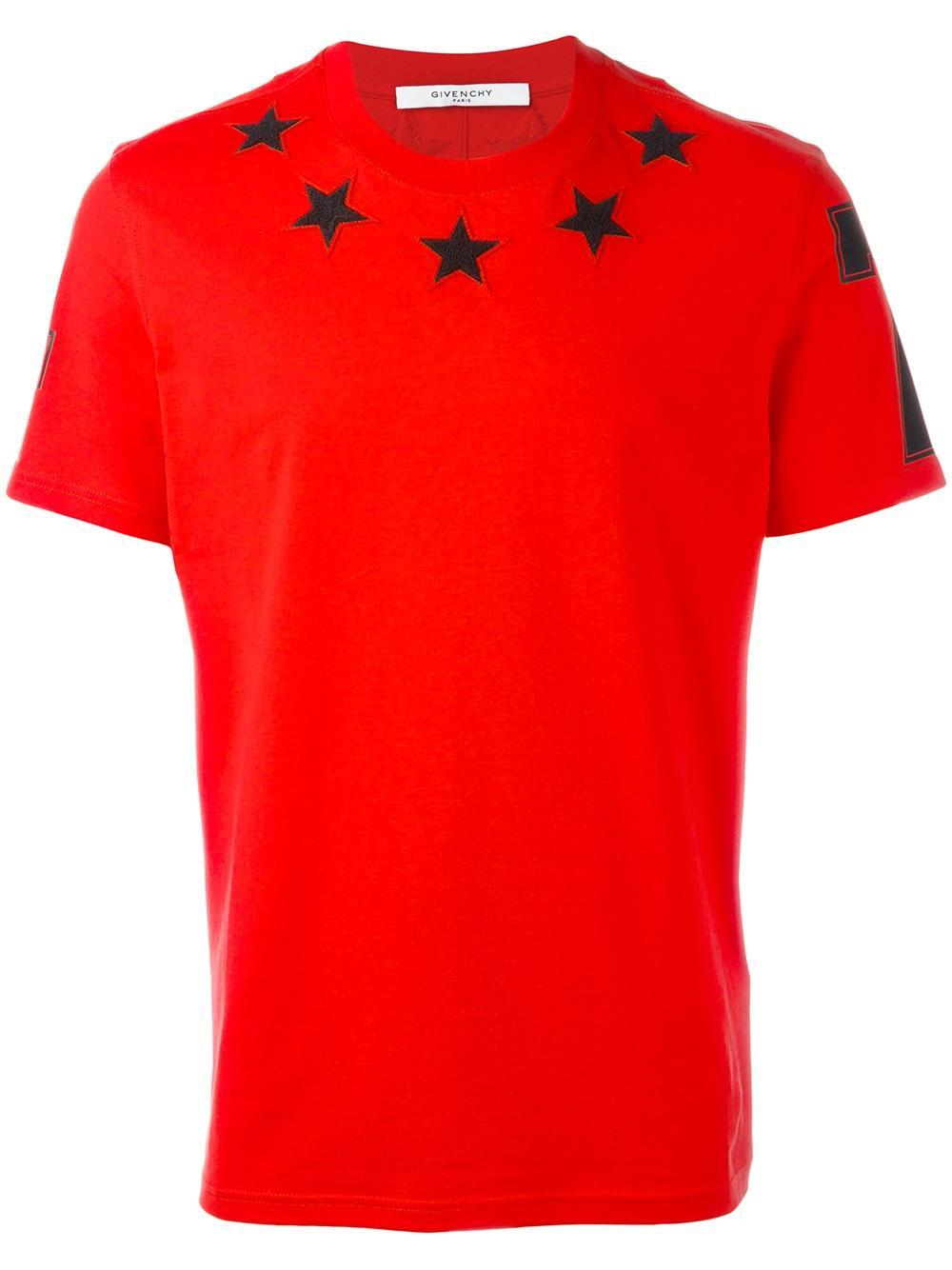 Lyst givenchy star 74 t shirt in black for men for Givenchy 5 star shirt