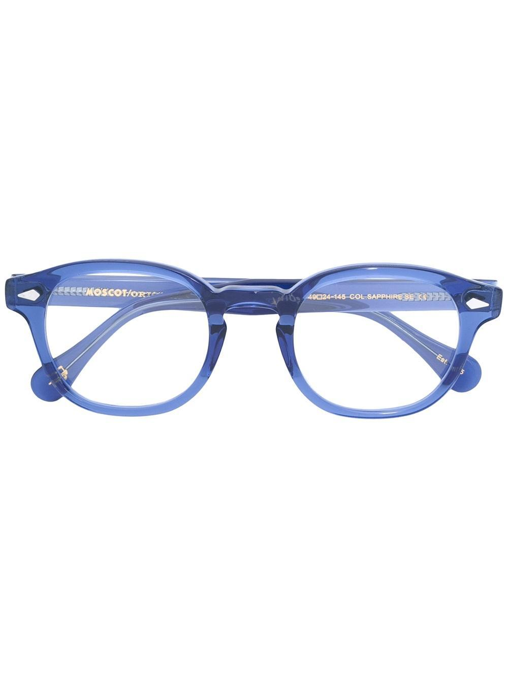Moscot Round Frame Glasses in Blue Lyst