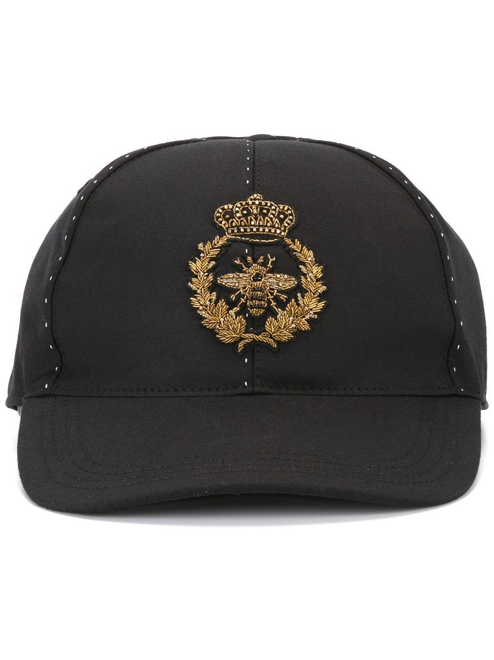 927715f824f Lyst - Dolce   Gabbana Embroidered Crown   Bee Baseball Cap in Black ...