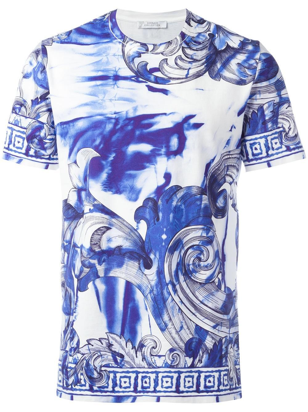 Lyst versace marbled baroque t shirt in white for men for Blue and white versace shirt