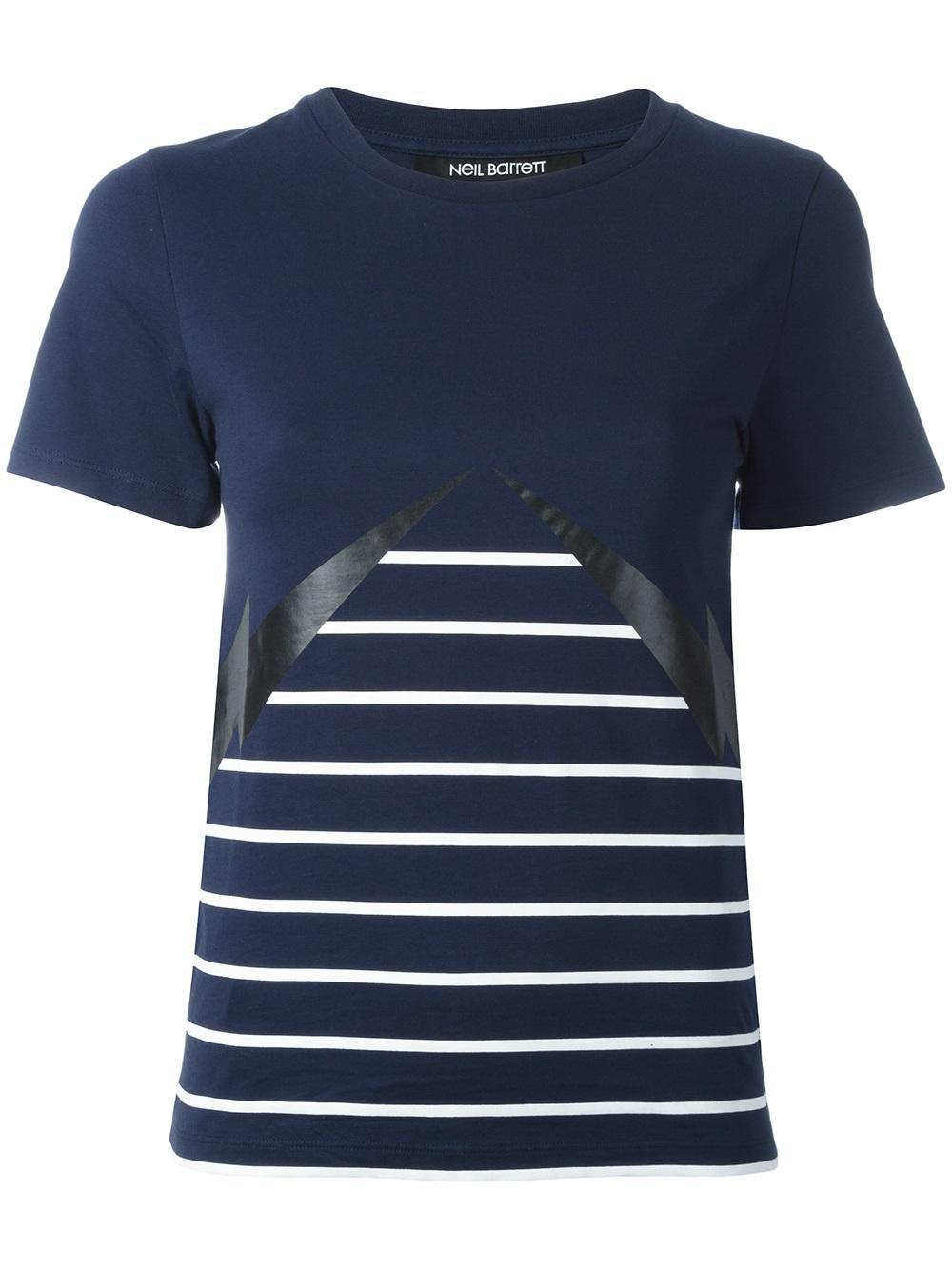 Neil Barrett Lightning Bolt Striped T Shirt In Blue Lyst