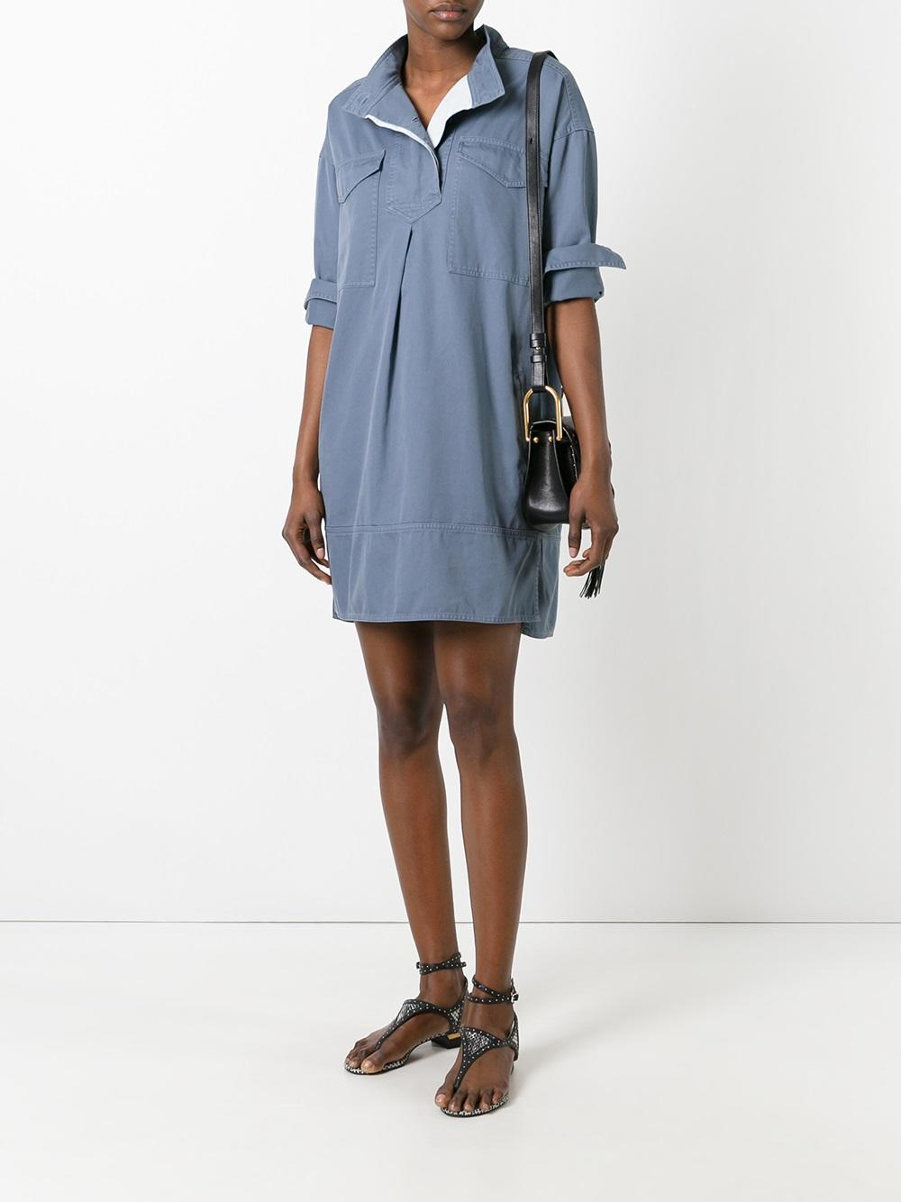 Toile isabel marant omeo shirt dress in blue lyst for Isabel marant shirt dress