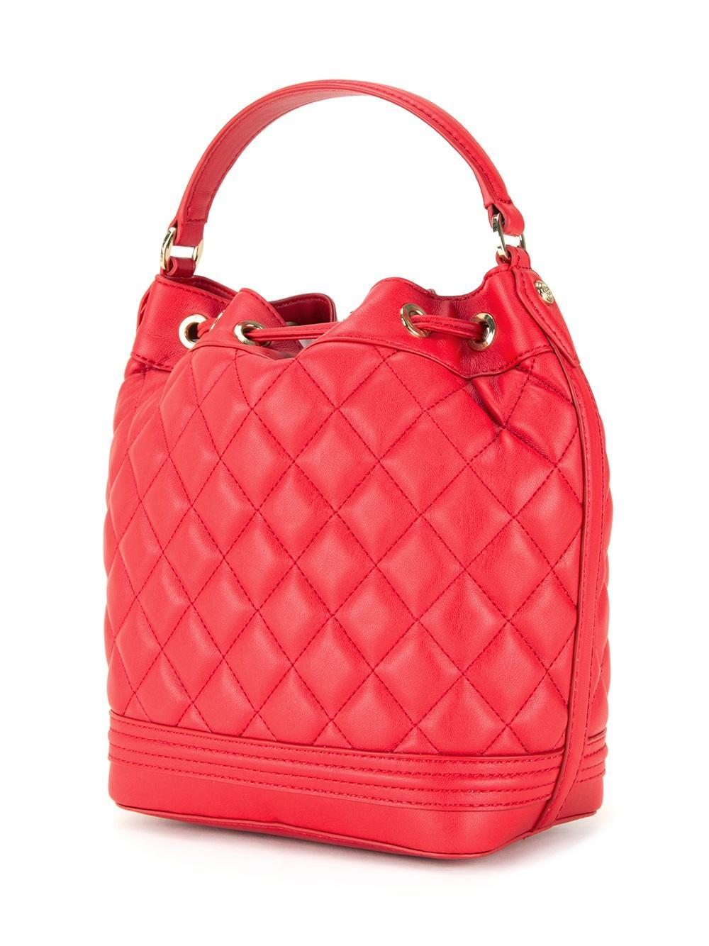 Love Moschino Quilted Drawstring Crossbody Bag In Red Lyst
