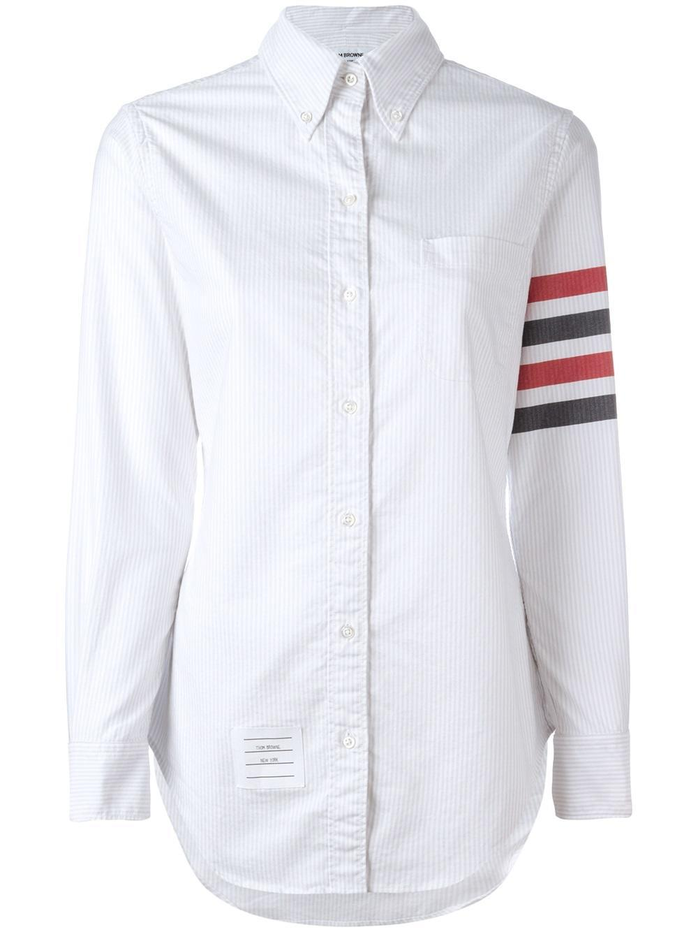 Thom browne color block shirt in white lyst for Thom browne white shirt
