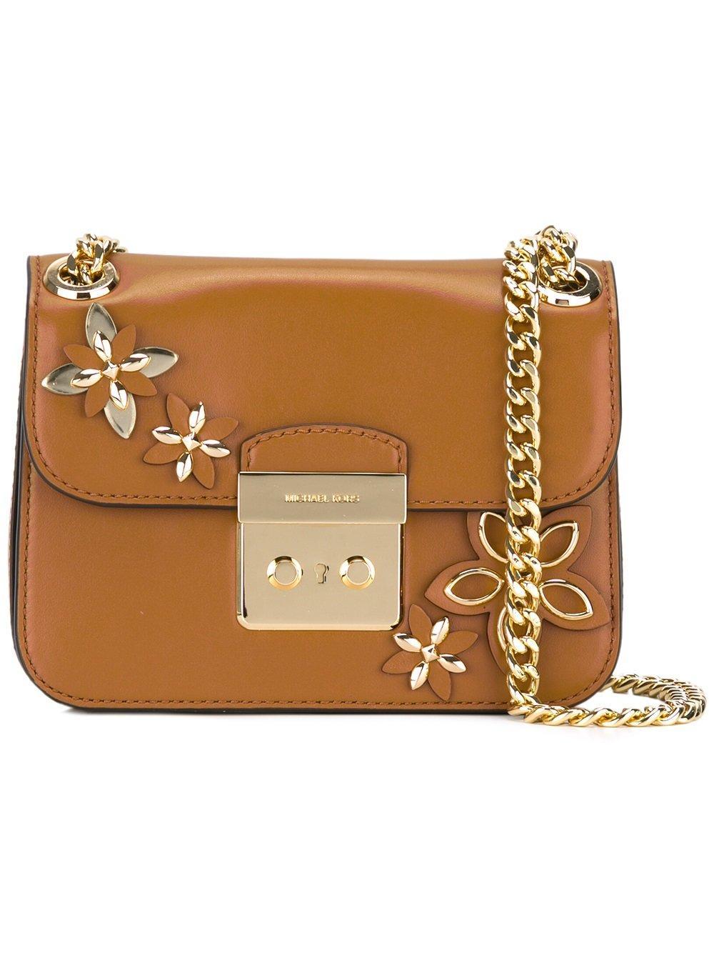 Michael Michael Kors Floral Embellished Shoulder Bag In Brown | Lyst