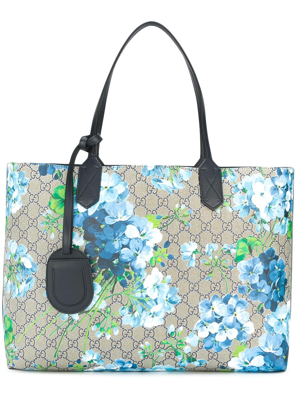 Gucci Reversible Gg Blooms Shopping Tote in Blue | Lyst