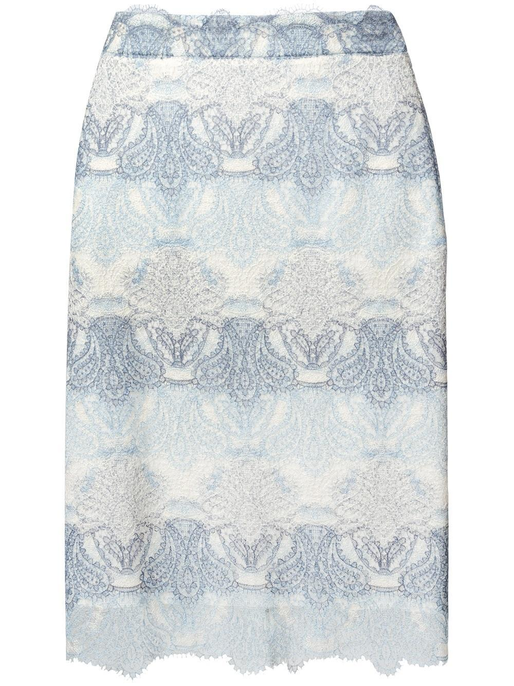 ermanno scervino lace pencil skirt in blue lyst