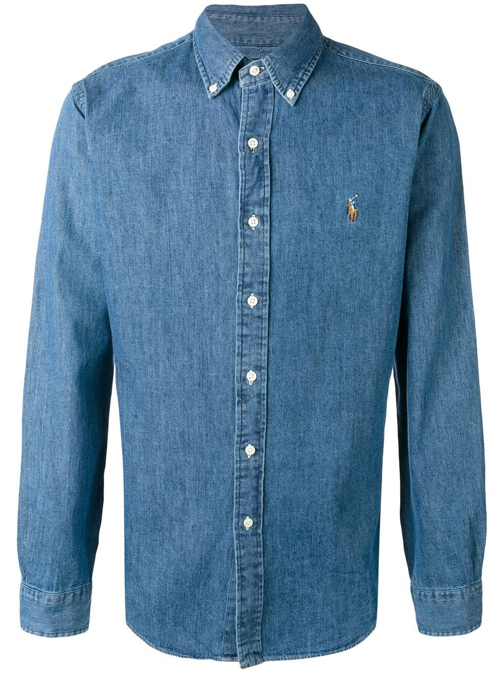 Lyst polo ralph lauren button down denim shirt in blue for Denim button down shirts