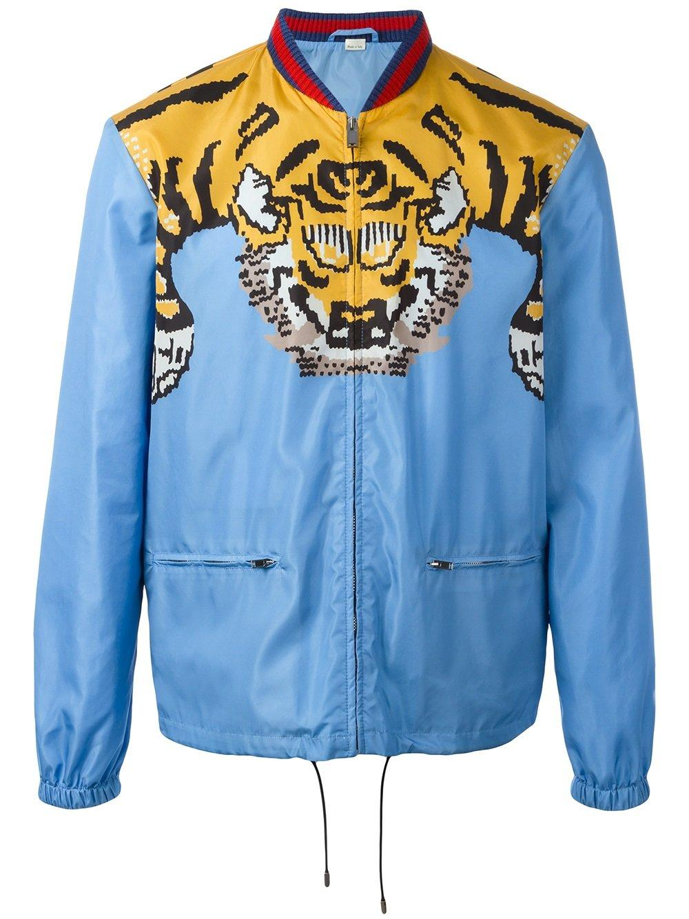 481a60c77 Gucci Tiger Print Bomber Jacket in Blue for Men   Lyst