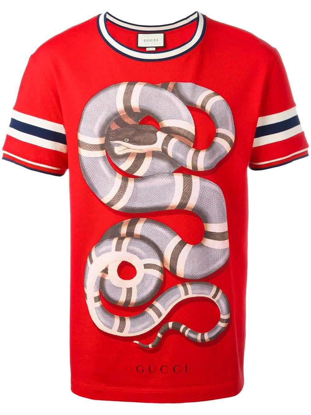 aa023729 Gucci Snake Print T-shirt in Red for Men - Lyst