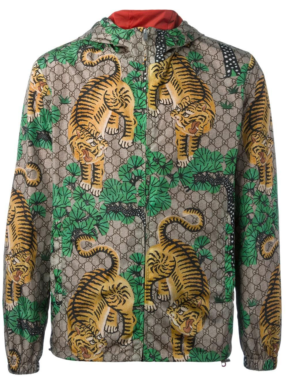 5d9a2e260f6 Lyst - Gucci   Bengal  Print Jacket in Green for Men