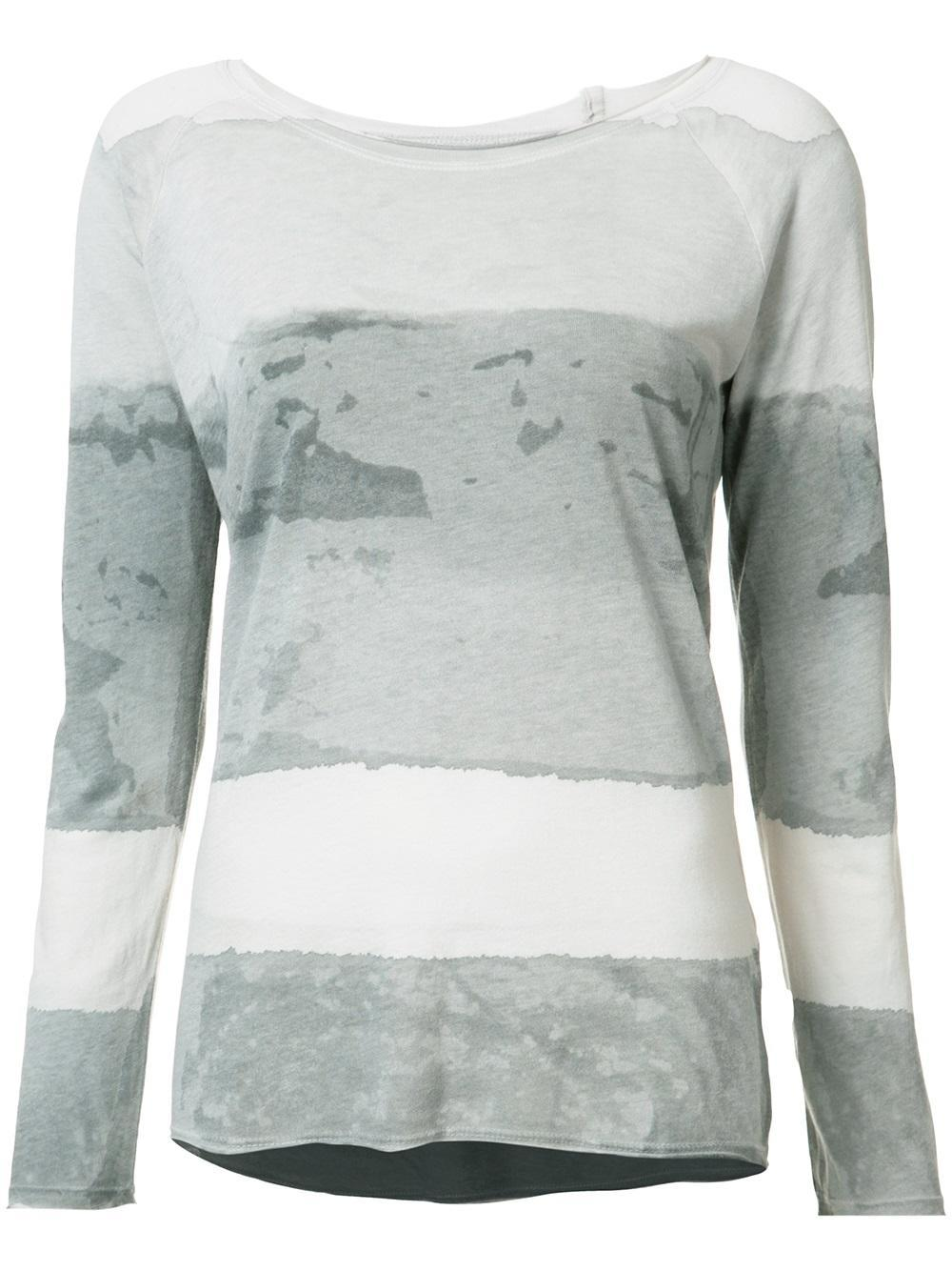 Raquel allegra tie dye print t shirt in gray lyst for Tie dye t shirt printing