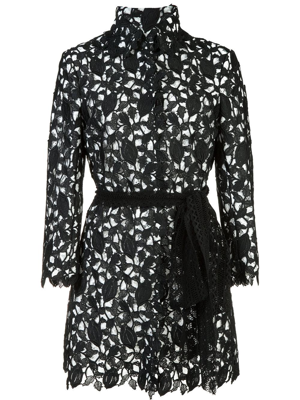 Monique Lhuillier Embroidered Long Jacket In Black  Lyst