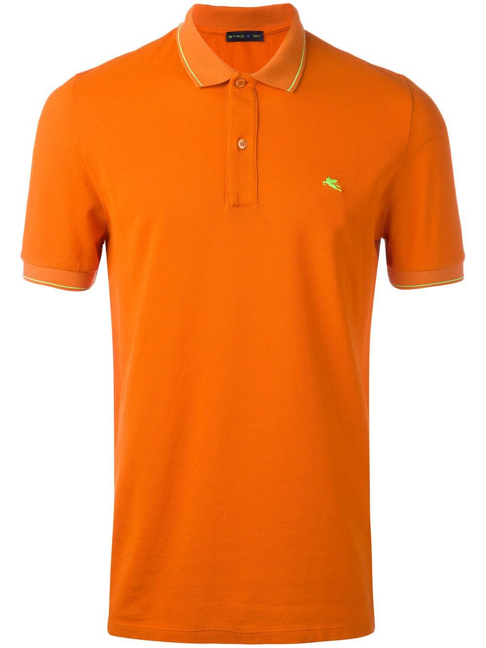 Etro classic polo shirt in orange for men lyst for Orange polo shirt mens