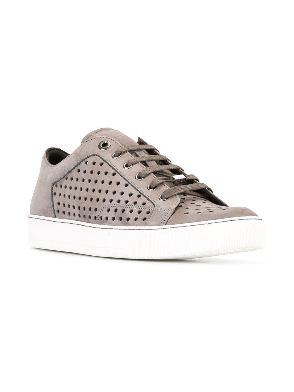 Lyst - Lanvin Perforated Sneakers in Brown for Men