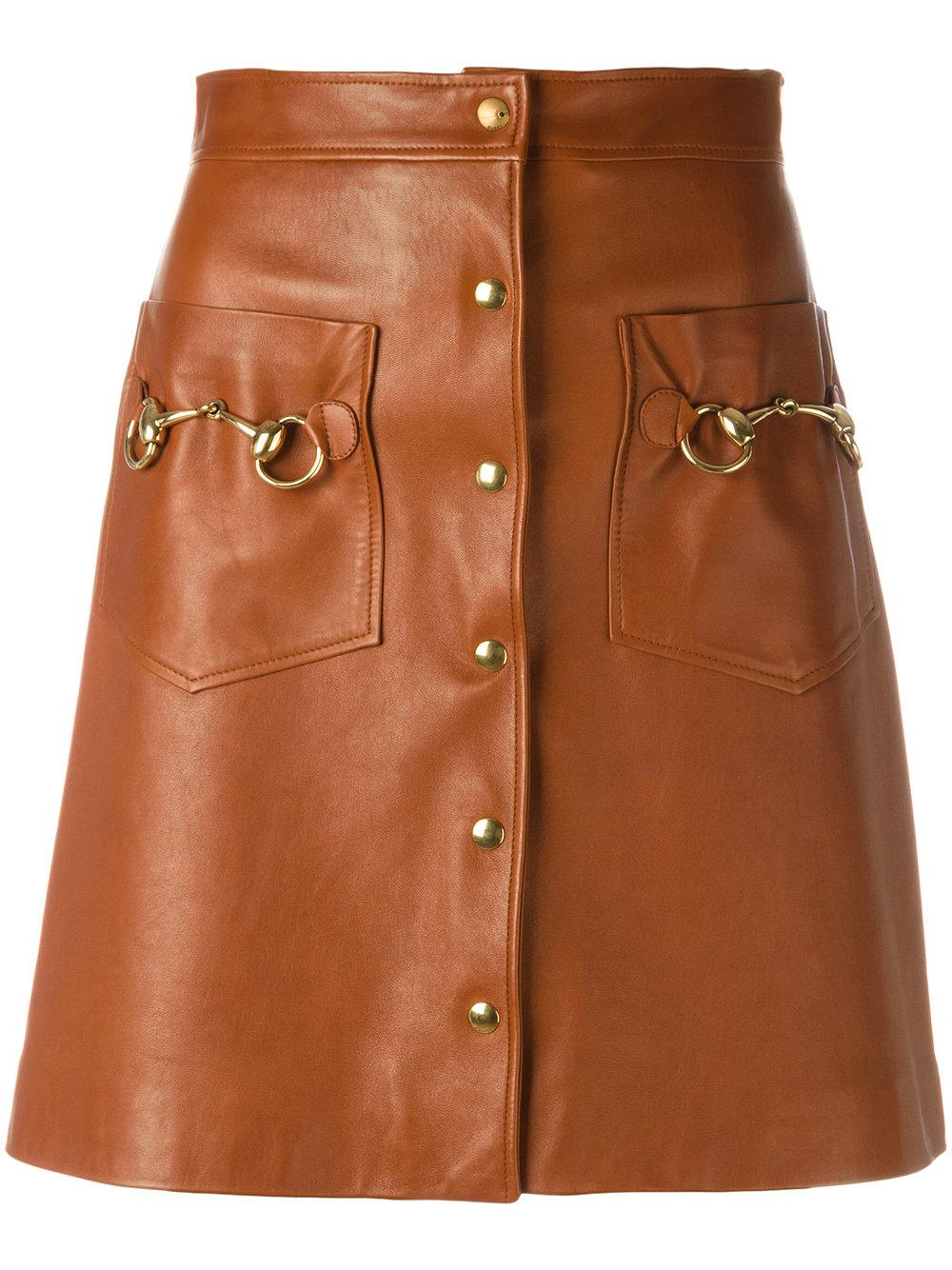 gucci horsebit leather skirt in brown lyst