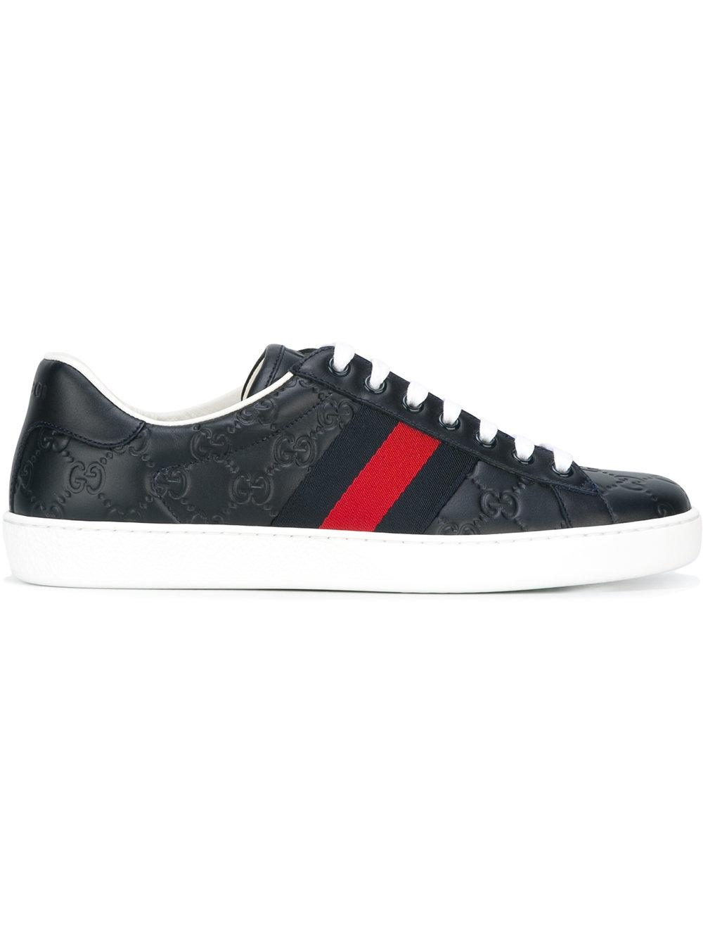 Gucci Ace Signature Sneakers In Blue For Men Lyst