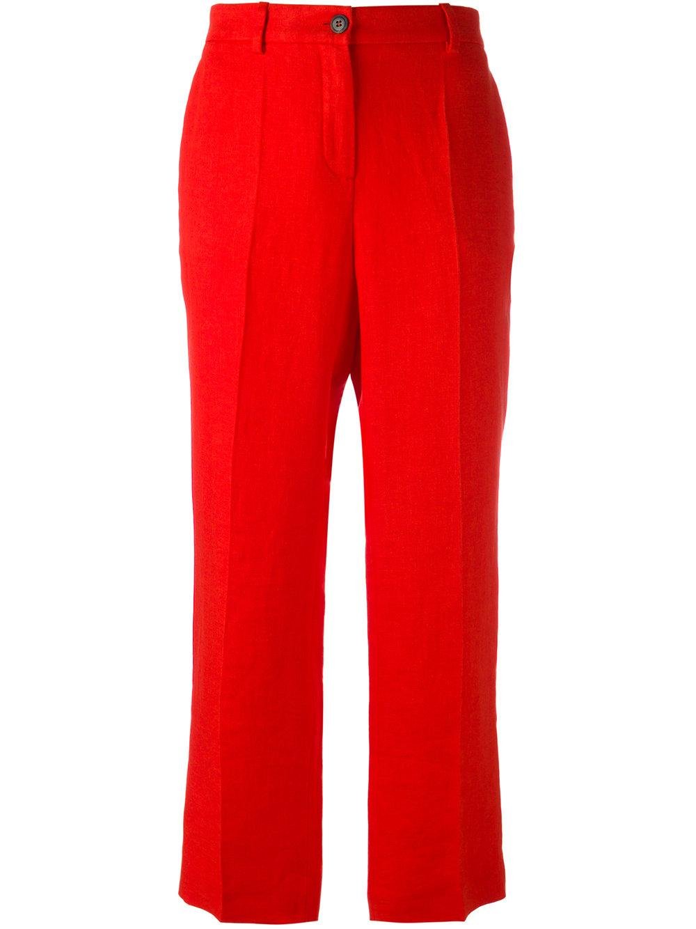 Roberto Cavalli Cropped Trousers Women Silk Linen