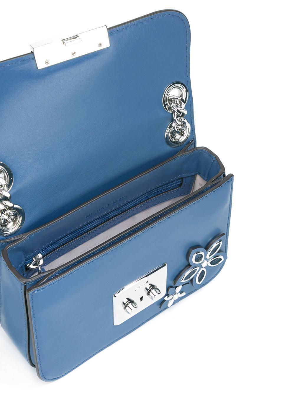 Michael Michael Kors Floral Embellished Shoulder Bag In Blue | Lyst