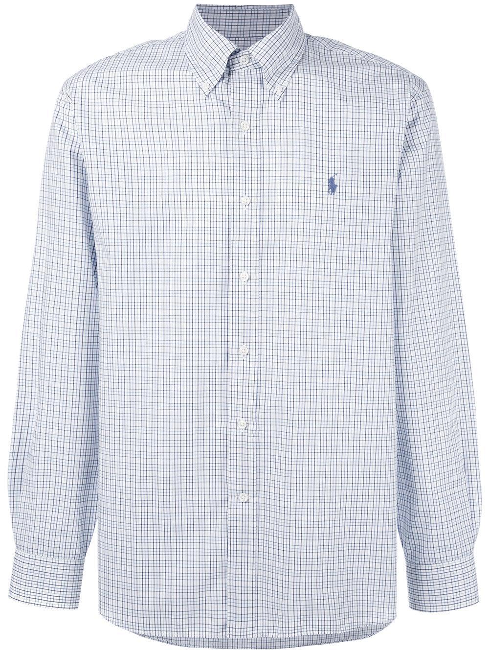 Polo ralph lauren plaid button down shirt in white for men for White button down shirt mens