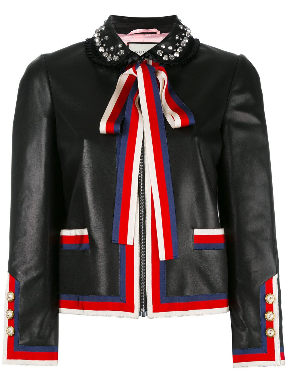 Gucci Embellished Bow Tie Jacket In Black Lyst